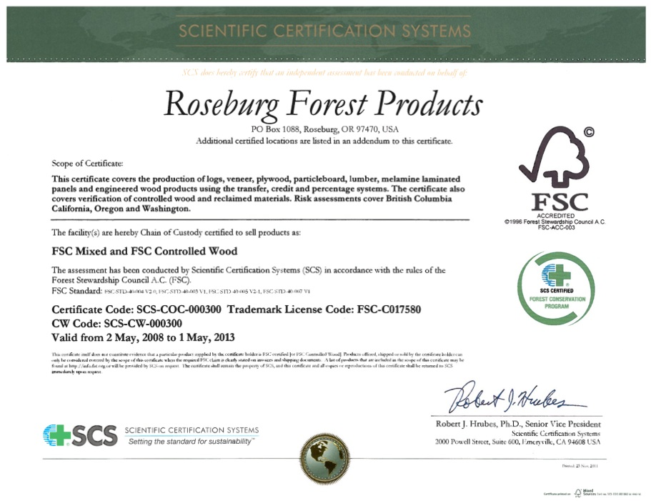 Roseburg forest certification certificate, image courtesy of roseburg.com