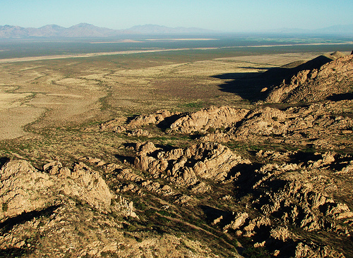 The rugged Peloncillo Mountains, one of two ranges that run through Malpai country at the Mexican border. Photo by BAlvarius